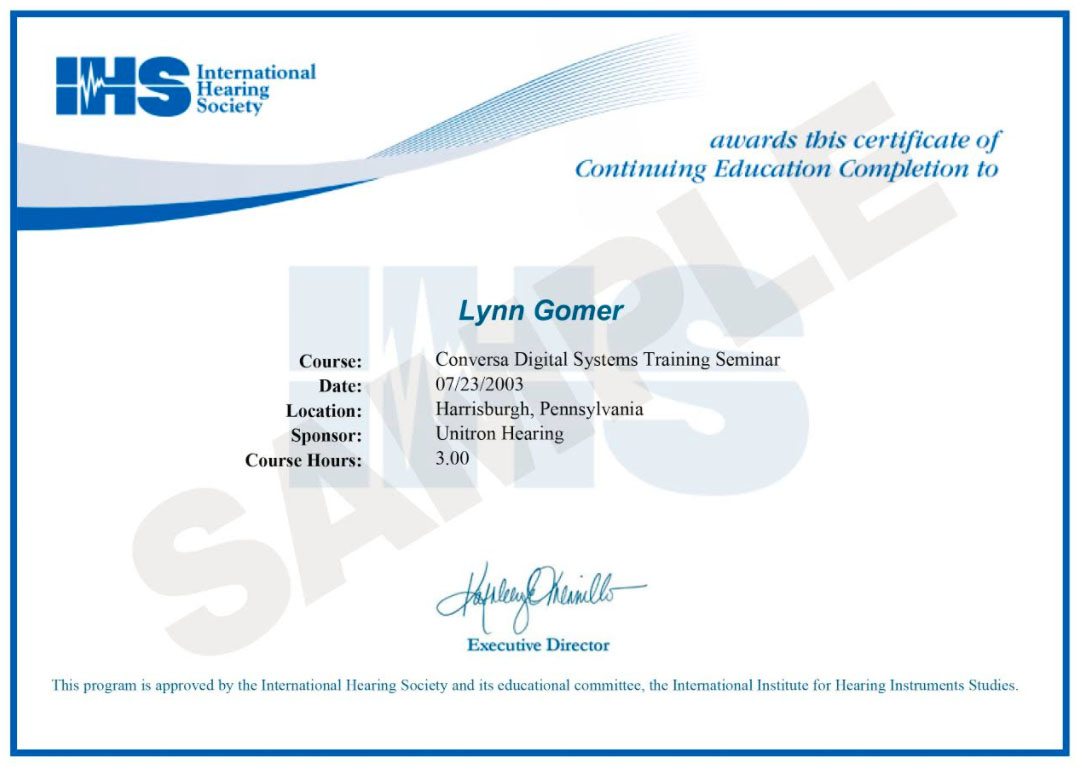 e-Certificates of Completion for Continuing Education